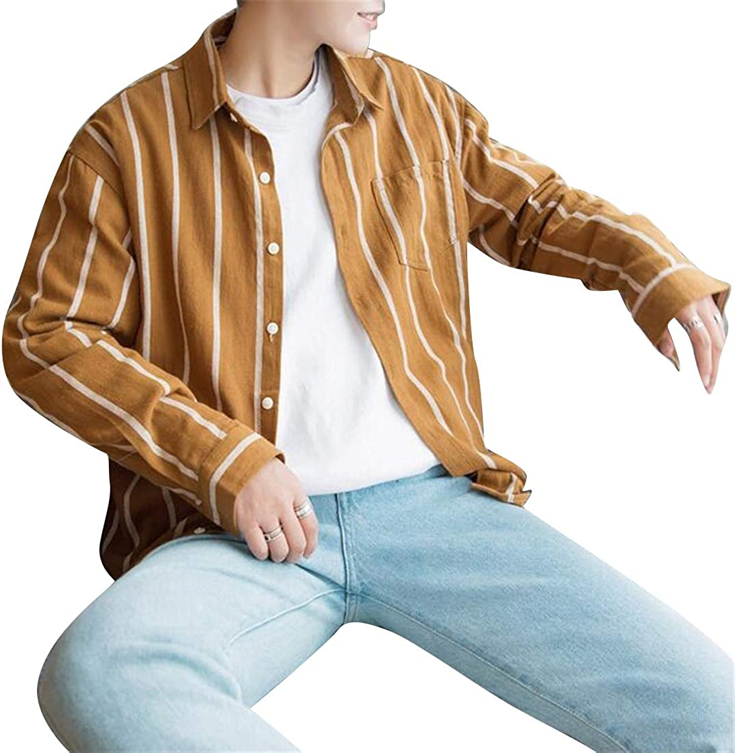 Jotebriyo Mens Loose Cotton Big /& Tall Stripe Print Long Sleeve Dress Work Shirt