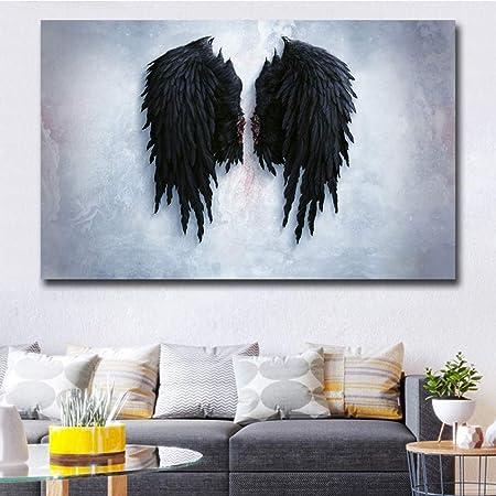 Alas de ángel Negro Pintura de Lienzo Cuadro de Pared de ...