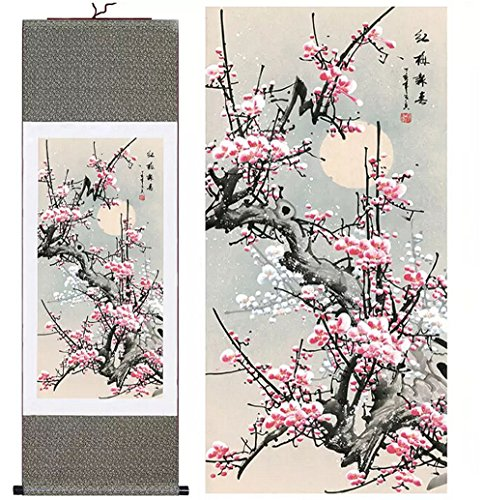 sunmir (TM Silk Scroll Painting Red Plum Welcome to The Spring Tang Bohu