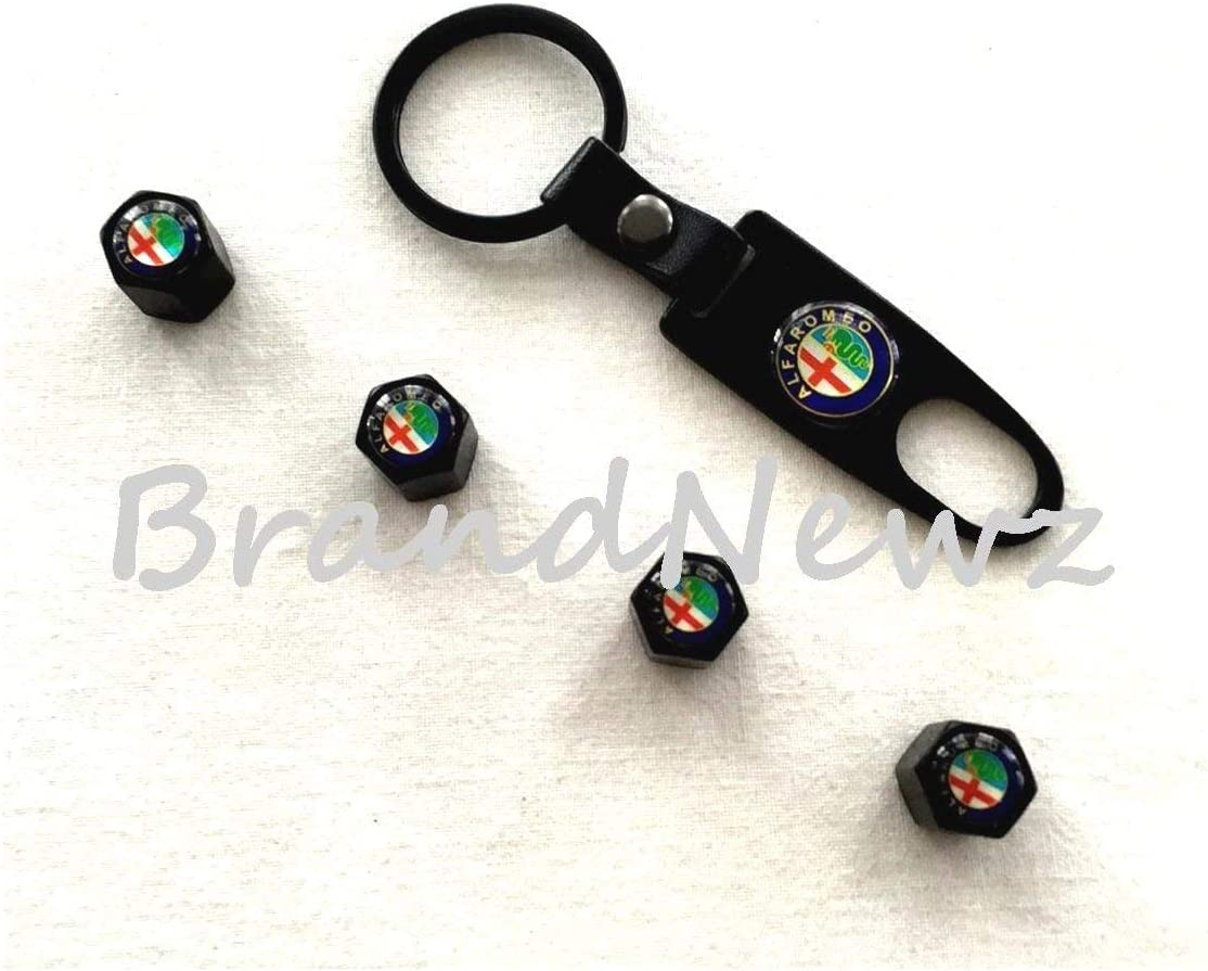 SET OF 4 BRANDNEWZ ALFA ROMEO BLACK ALLOY CAR WHEEL TYRE VALVE DUST CAPS COVERS SPANNER KEY RING