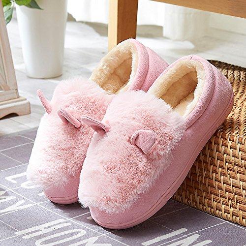 Y-Hui, el otoño y el invierno cálido zapatos con suela gruesa Home Furnishing Slip preciosa bolsa de zapatillas de algodón en invierno,40/41 (adecuado para 39/40 Pie de desgaste), Rosa (Quan Bao)