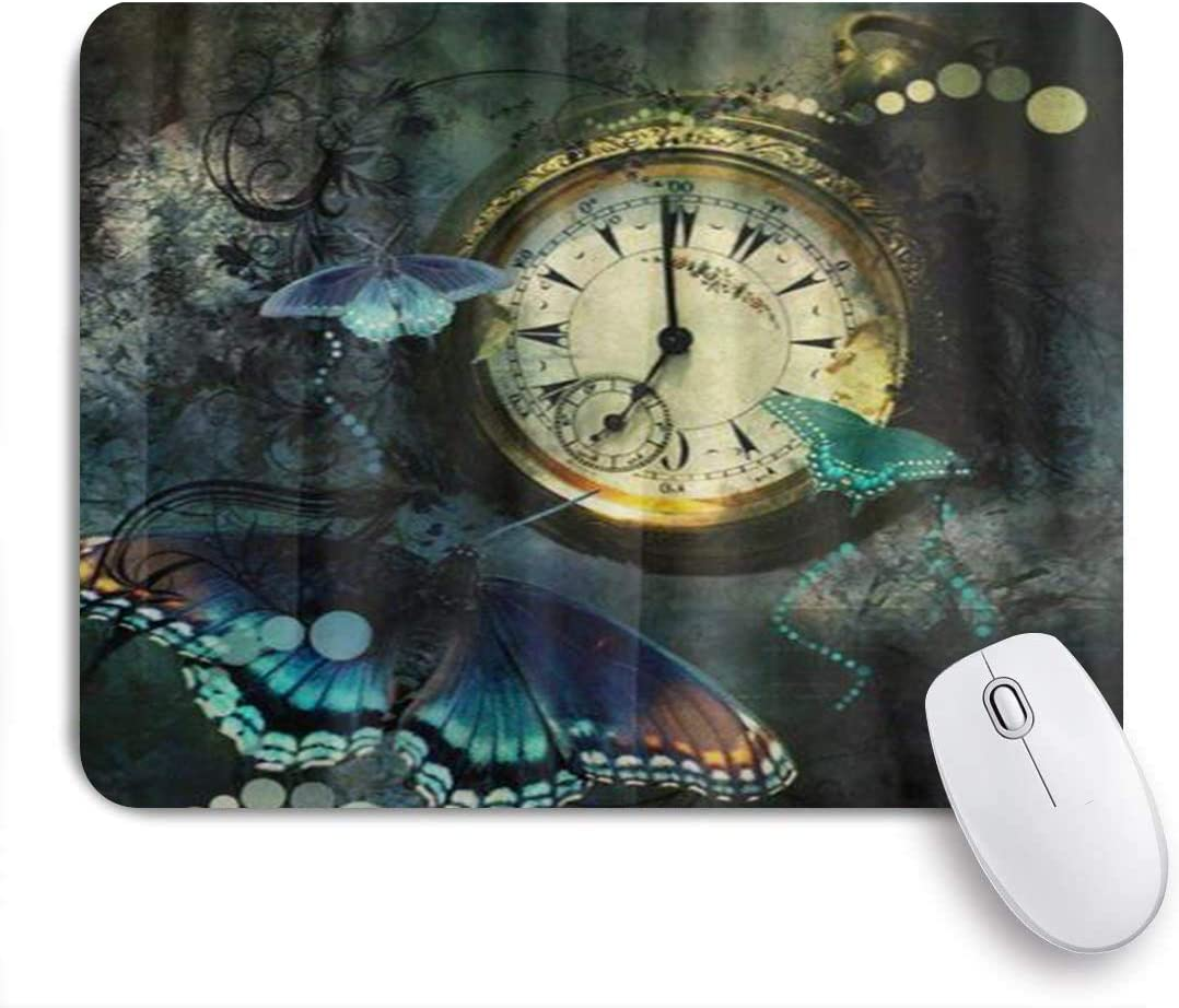 MUYIXUAN Alfombrilla Raton Reloj Mariposa Vintage en Mal Estado Alfombrilla Gaming Alfombrilla para computadora con Base de Goma Antideslizante,240×200×3mm