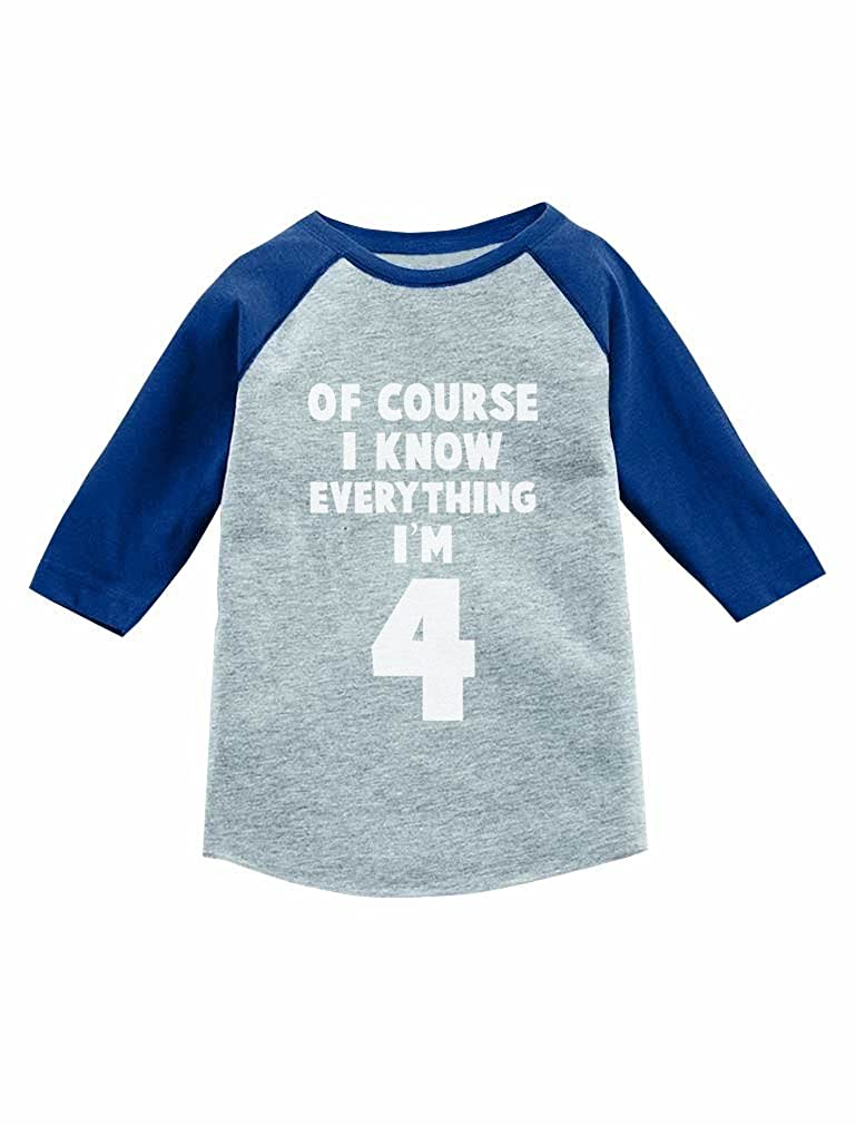 Tstars I Know Everything Im 4-4th Birthday 3//4 Sleeve Baseball Jersey Toddler Shirt