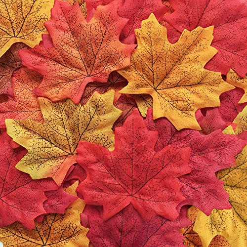 Bassion 210 Pcs Assorted Mixed Fall Colored Artificial Maple Leaves for Weddings, Events and Decorating