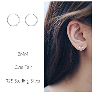 Sterling Silver Hoop Earrings Cartilage Piercing Earring Small Round Set For Women Men Girls