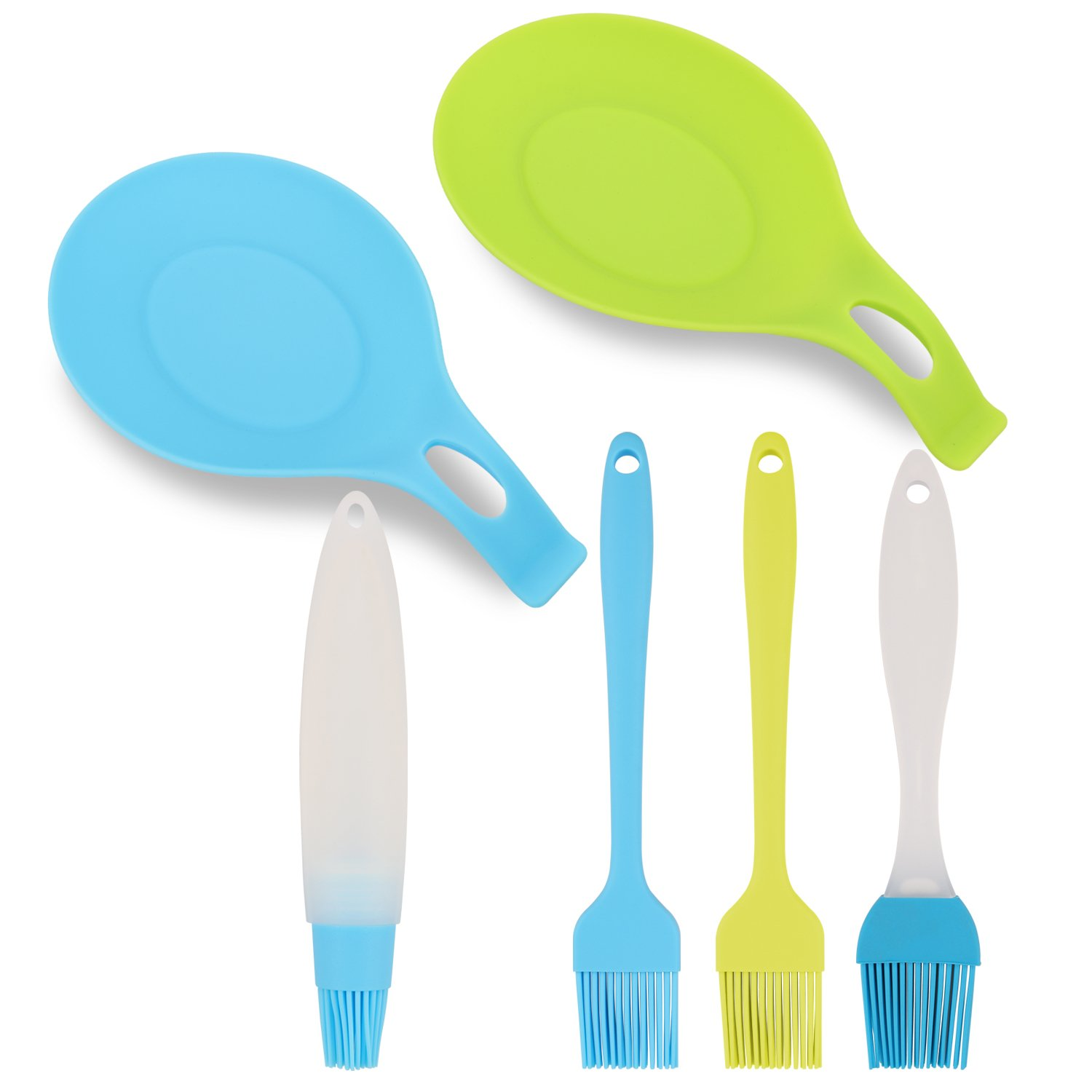 6 Pieces Silicone Basting Pastry Brushes with Silicone Spoon Rest ...
