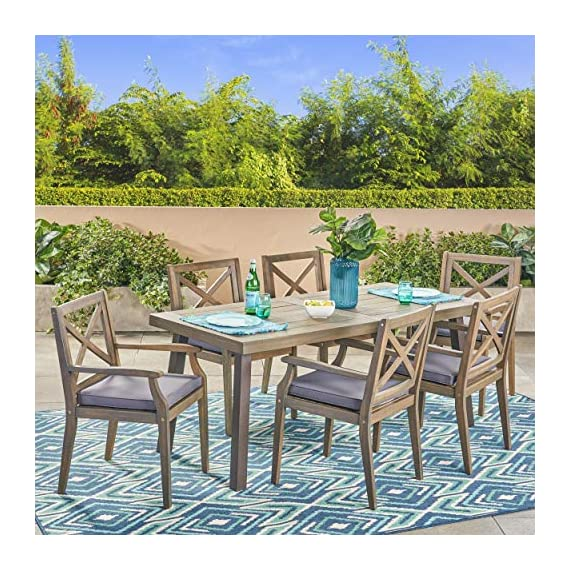 Christopher Knight Home 305777 Justin Outdoor 7 Piece Acacia Wood Dining Set, Teak, Gray Finish/Rustic Metal/Dark Gray - For the aspiring homemaker, one's dining table is akin to an artist's canvas. This outdoor dining set will transform your backyard patio or dining area into your own personal veranda, making every night a special occasion. Six comfortable chairs surround an exquisitely-constructed acacia wood table. Love your neighbor, share a meal, create memories that will last a lifetime Includes: One (1) Outdoor Dining Table and Six (6) Outdoor Dining Chairs. Cushion Material: Water Resistant Fabric. Frame Material: Acacia Wood. Table Leg Material: Iron Fabric Composition: 100% Polyester. Cushion Color: Dark Gray. Wood Finish: Gray. Leg Finish: Rustic Metal - patio-furniture, dining-sets-patio-funiture, patio - 61S2F3K5VtL. SS570  -