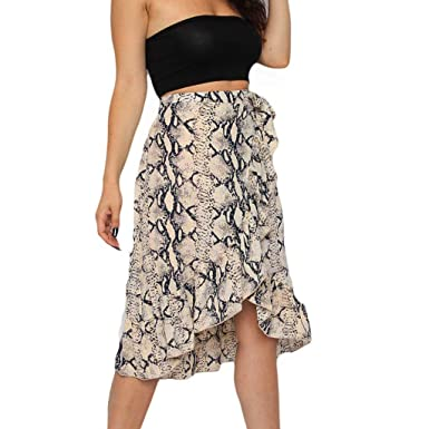 31aa7e7738bd Sendke Ladies High Fashion Tie Bow Animal Print Skirt Ruffle Hem Frill Wrap  Midi Skirt Skirts for Women at Amazon Women's Clothing store: