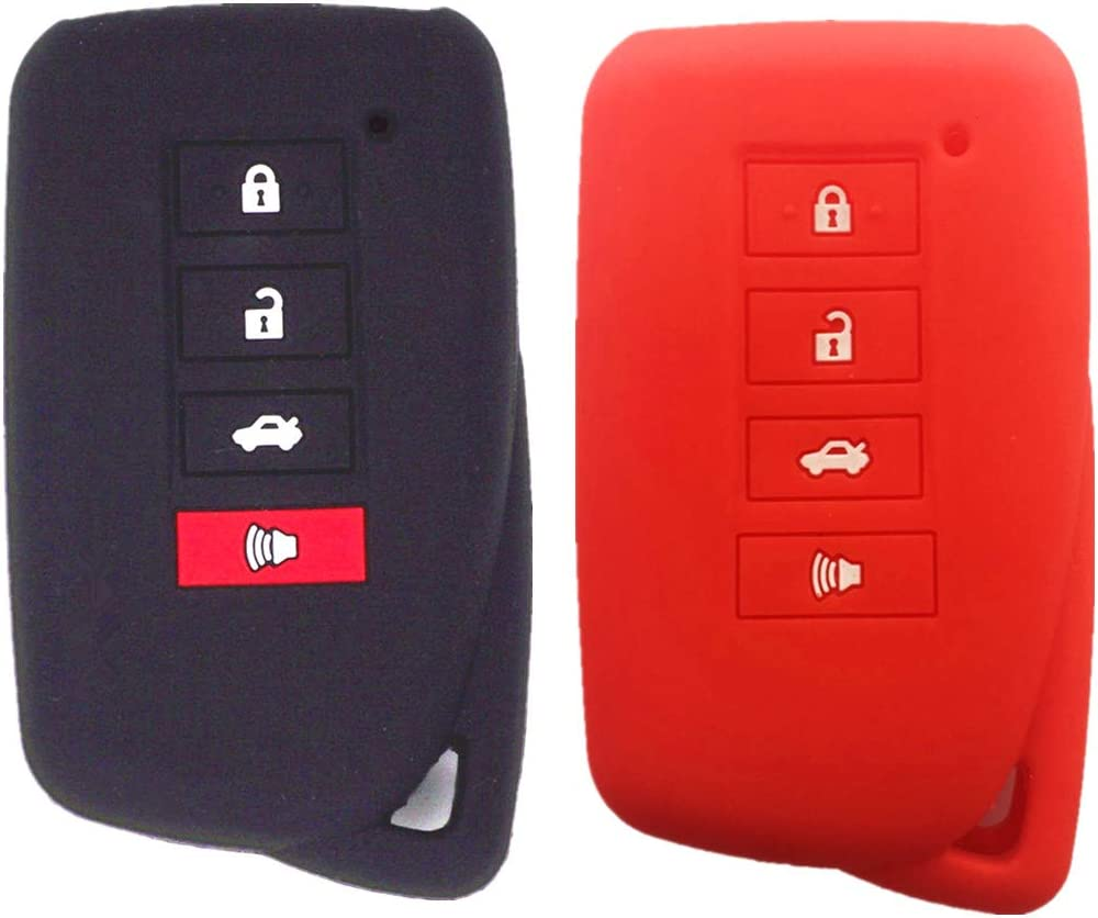 RUNZUIE Silicone Keyless Entry Remote Key Fob Cover Case Protector Shell for Lexus NX300h ES350 GS350 GS300h GS450h Red 4 Buttons