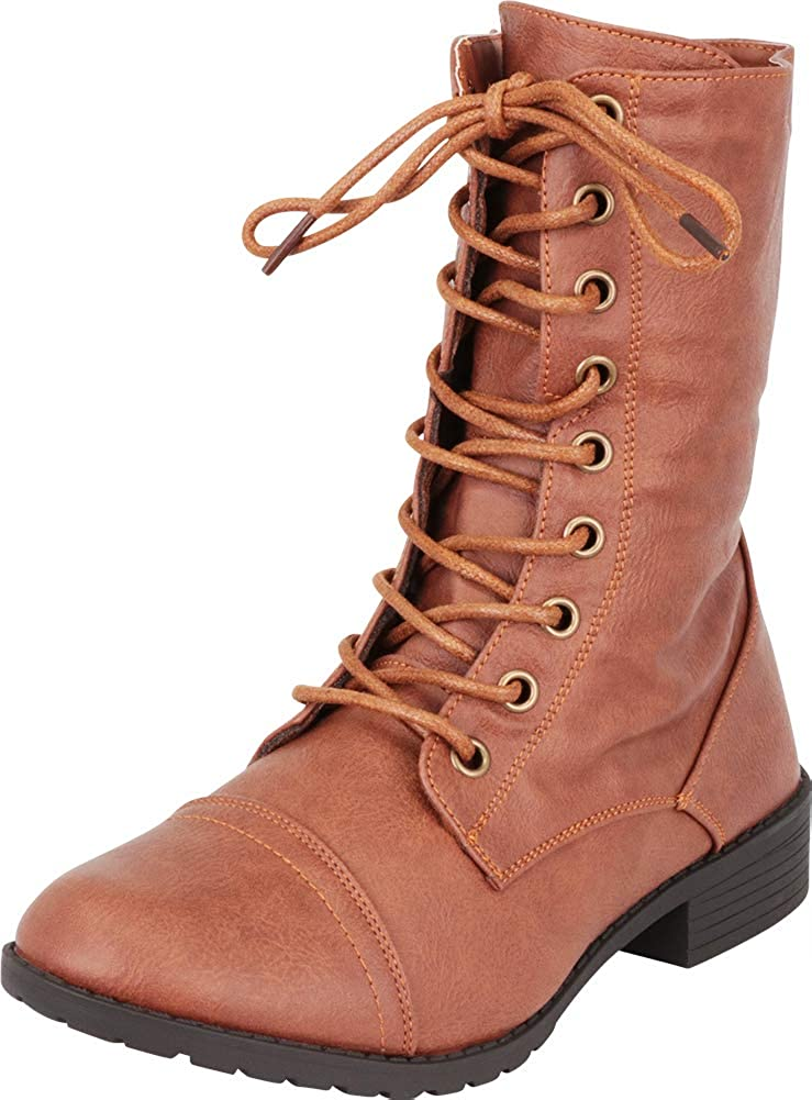 Tan Pu Cambridge Select Women's Classic 90s Lace-Up Chunky Lug Sole Combat Boot