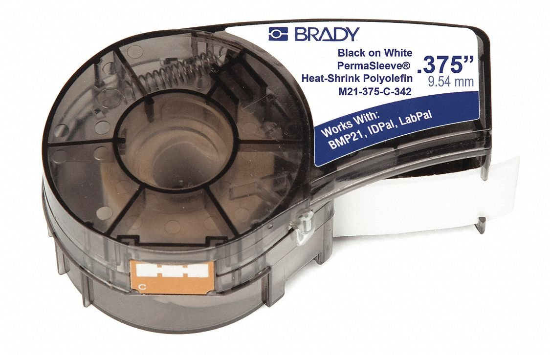 Brady - M21-375-C-342 - 0.375 In Dia X 7 Ft Permasleev Label For Bmp21, Part #403538 (9.53 Mm X 2.13 M)