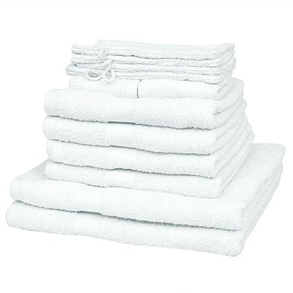 vidaXL Set 12 Toallas Blancas de algodón al 100% 500gr/m² Baño SPA Hotel