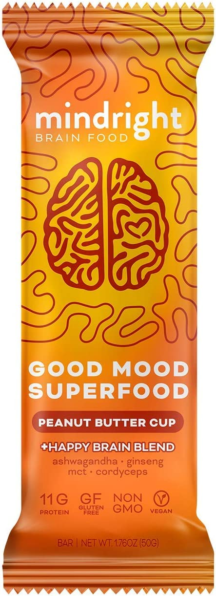 Mindright Good Mood Superfood Bar with Ashwagandha, Cordyceps, Ginseng, MCT, Mood & Stress Support, Pack of 12 - Peanut Butter Cup