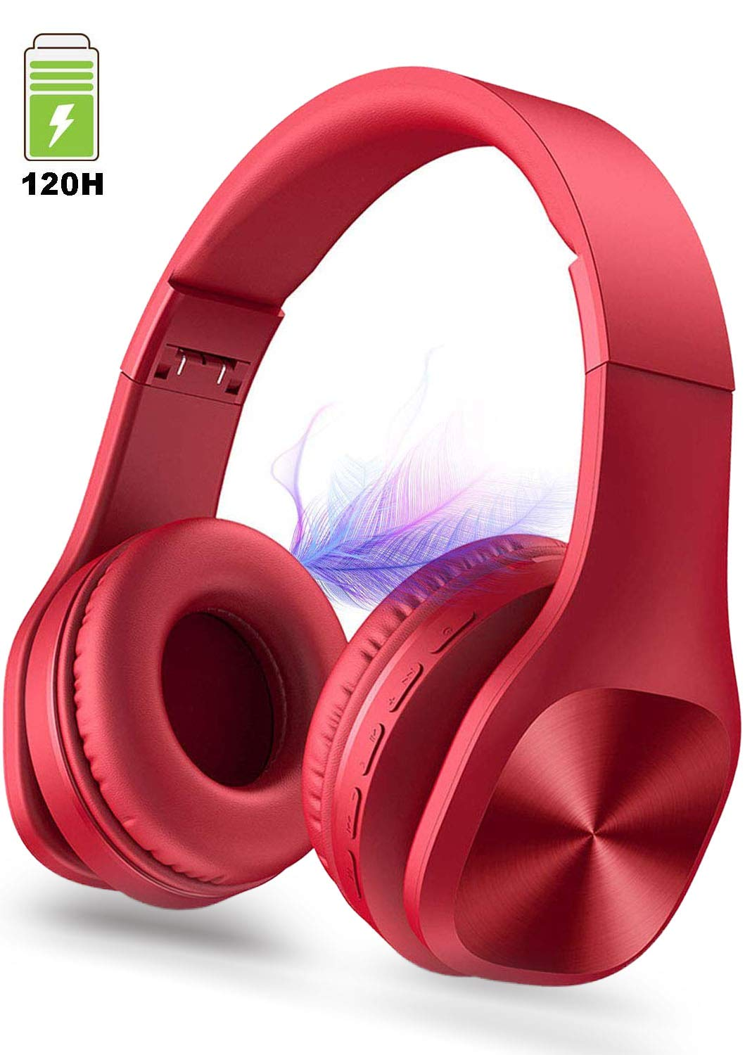 Bluetooth Headphones, Wireless Bluetooth 5.0 Earmuffs Over Ear Stereo Bass Foldable Bluetooth Headphones, Built in Mic, Wired Mode for PC Cell Phones TV F09-Red