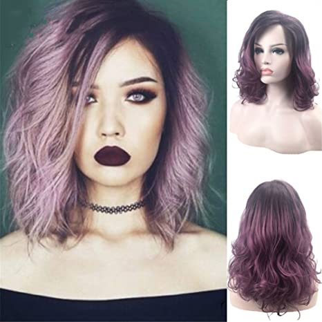 Amazon.com  AAwig Short Wavy Ombre Purple Hair Wig Side Part ... ca0287447
