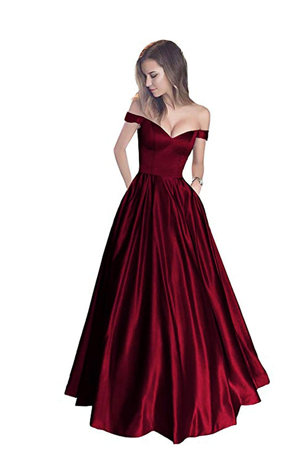 Burgundy without Belt FJMM Womens Off The Shoulder Beaded ALine Prom Dress for Party