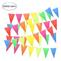Unomor 200PCS Multicolor Bunting Flags Pennant Banner for Party Decorations, Birthdays, Festivals Decorations