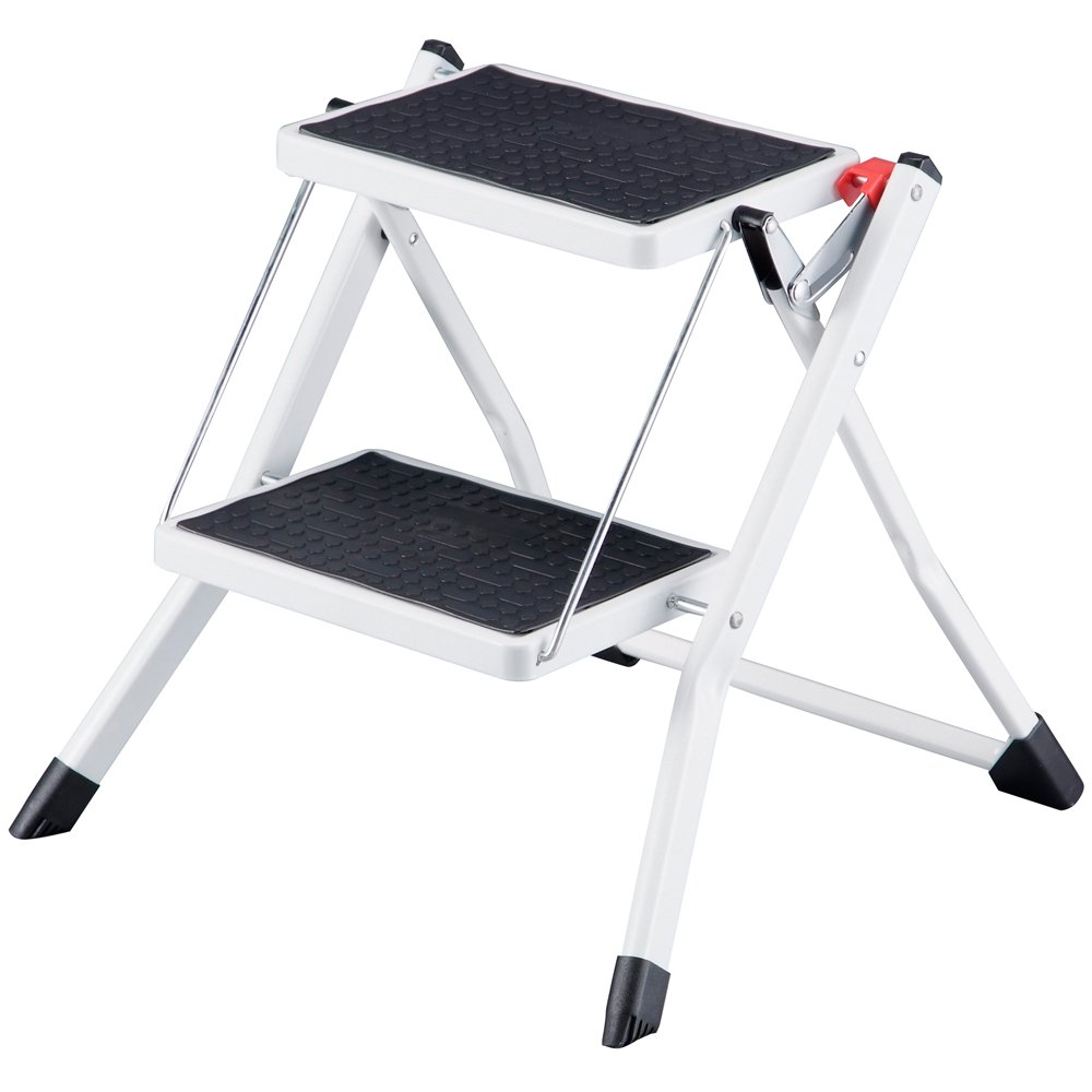Home Vida Compact Anti Slip Mat Tread Heavy Duty 2 Step Stool Folding Kitchen  Ladder, Metal, White/Black: Amazon.co.uk: Kitchen U0026 Home