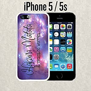 iPhone Case Hakuna Matata Space Quote for iPhone 5 / 5s Rubber White (Ships from CA)