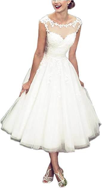 APXPF Womens Elegant Sheer Vintage Tea Length Lace Wedding Dress for Bride