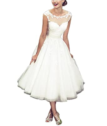 Weddings & Events White Lace Tea Length Length Wedding Dress Reception Bridal Dress With A Long Standing Reputation
