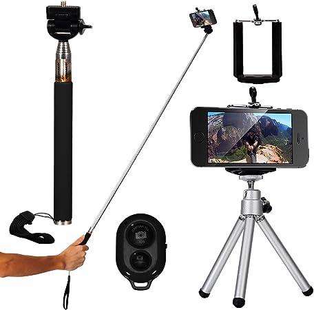 XCSOURCE - Monopié para selfies (4 en 1, extensible, mango telescópico ajustable, soporte y trípode, mando a distancia con Bluetooth para iPhone 4, ...