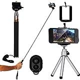 XCSOURCE® 4en1 Ensemble d'accessoir noir Manfrotto pour Selfie + support + Trépied + Télécommande Pour iPhone 4 4S 5 5S 5C ; Samsung Galaxy S5 i9600 / S4 i9500 / S3 i9300 / S2 i9100 / Note 2 3 ; Nexus 4 5 ; HTC DC494