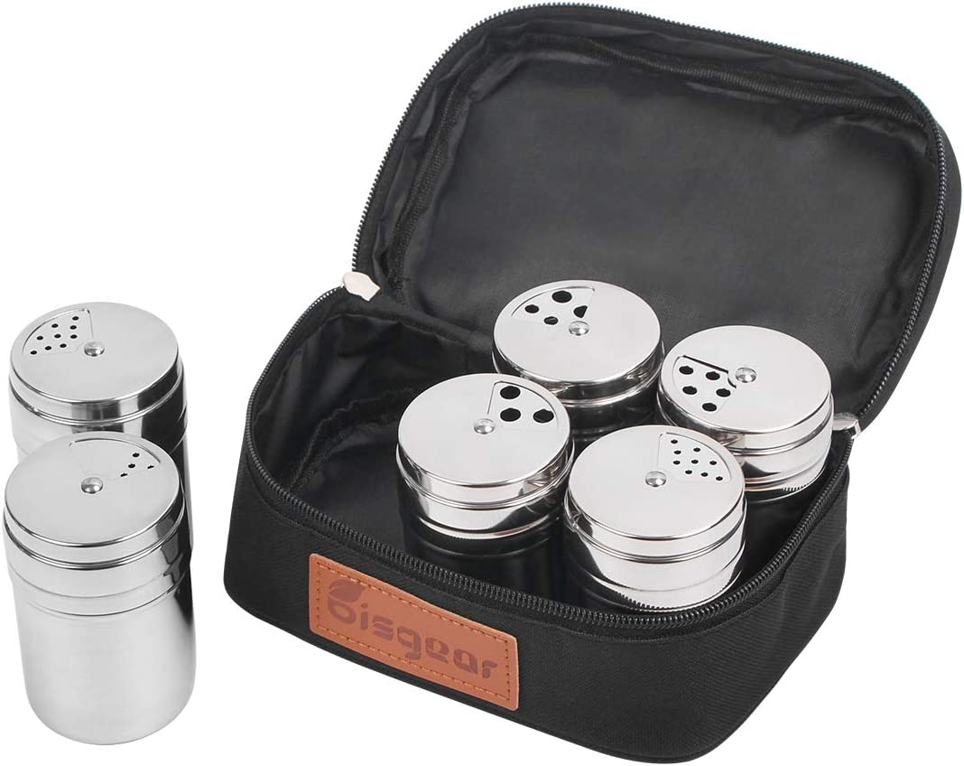 6Pc Salt & Pepper Shaker Sets - Bisgear Portable Stainless Steel Spice Shaker Seasoning Dispenser with Adjustable Holes & Travel Bag for Backpacking Camping BBQ