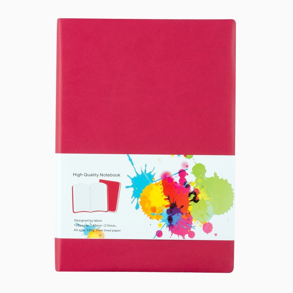 LABON'S Journal Notebook A4/A5/A6/ Ruled Diary Colored Edges PU Leather Softcover (A4, Red) labon' s