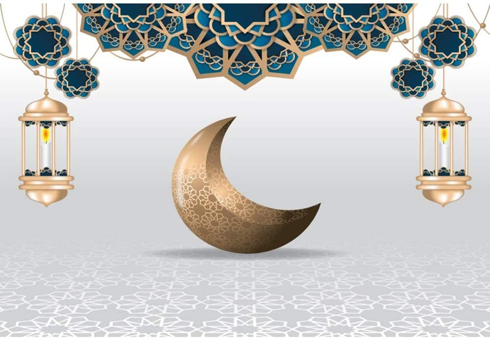 CSFOTO Ramadan Backdrop 8x6ft Islamic Crescent Moon Background for Photography Ramadan Lantern Muslim Islam Religion Arabic Eid Backdrop Party Decor Kid Adult Portraits Photo Wallpaper
