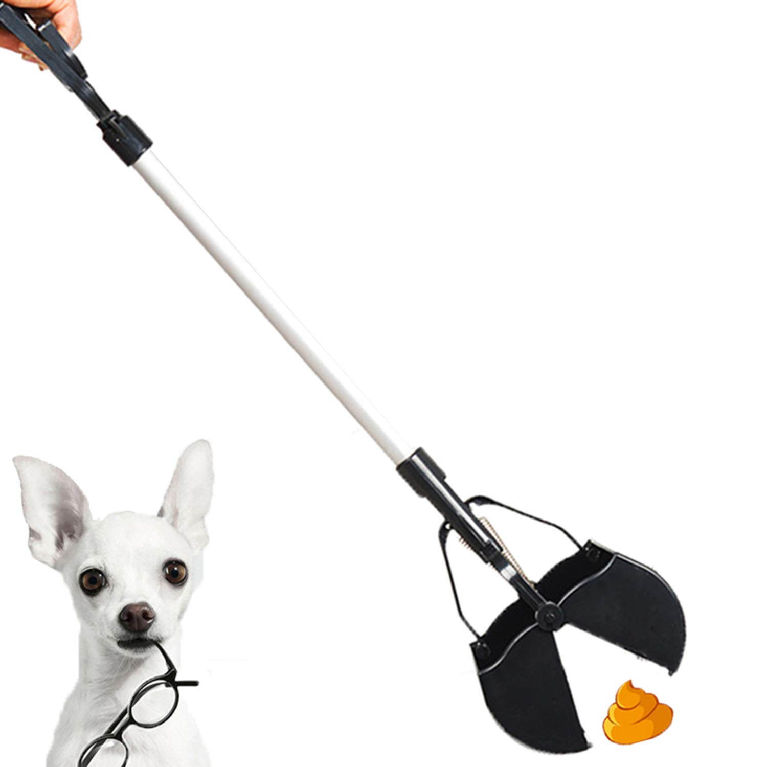 Pet Poop Scooper with Long Aluminum Handle Light Weight Excrement Shovel Dog's Waste Clamp, Garden, Home Using Without Stoop
