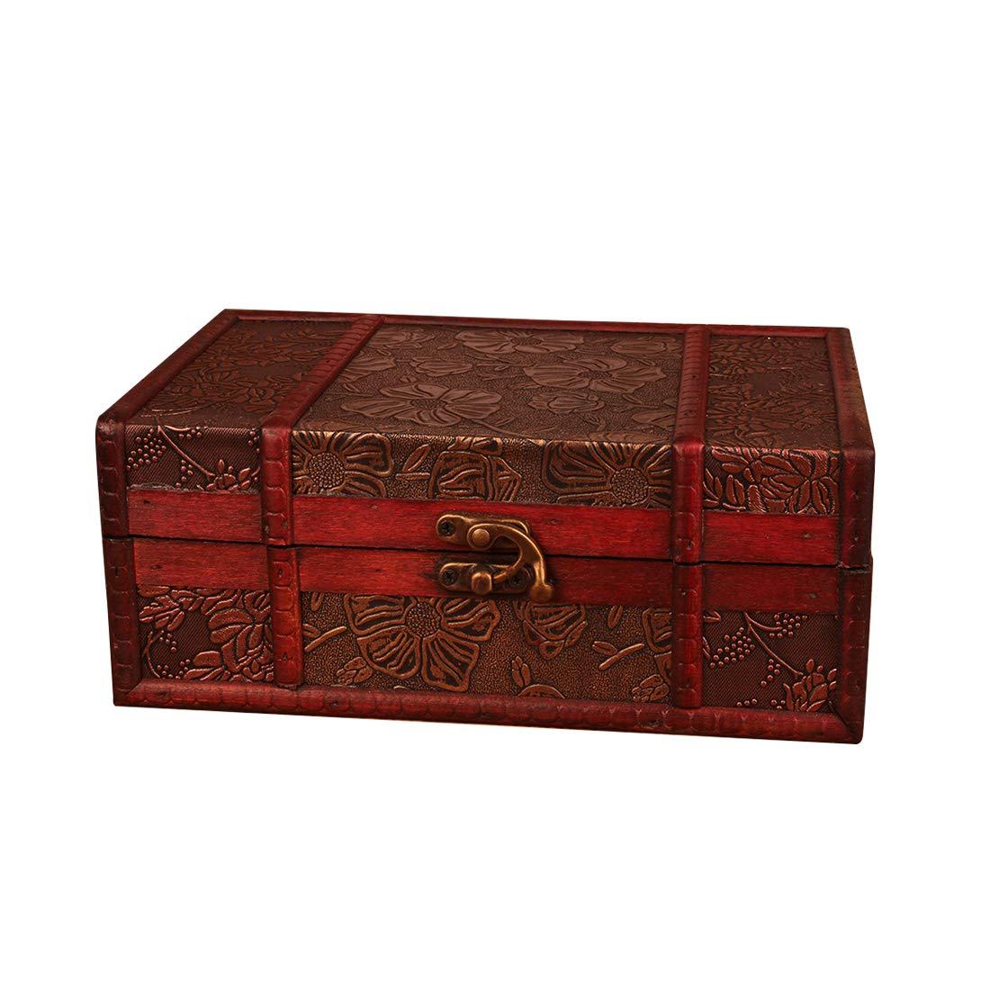 Lingxuinfo Wooden Jewellery Box Dressing Case Keepsake Box with Lock for Decor
