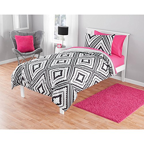 Your Zone 2-Piece Ultra-Soft Plush Gray Reversible Comforter $ Shams Set (Gray and Black Aztec Print, Twin)