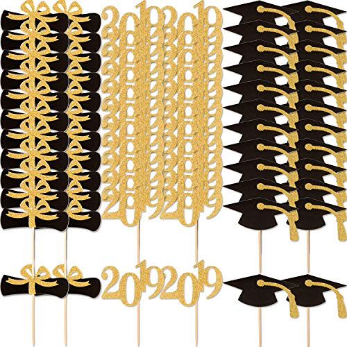 Yaomiao 72 Pieces 2019 Graduation Cupcake Toppers Glittery Food Toothpick Toppers Appetizer Picks for Graduation Party Ornaments