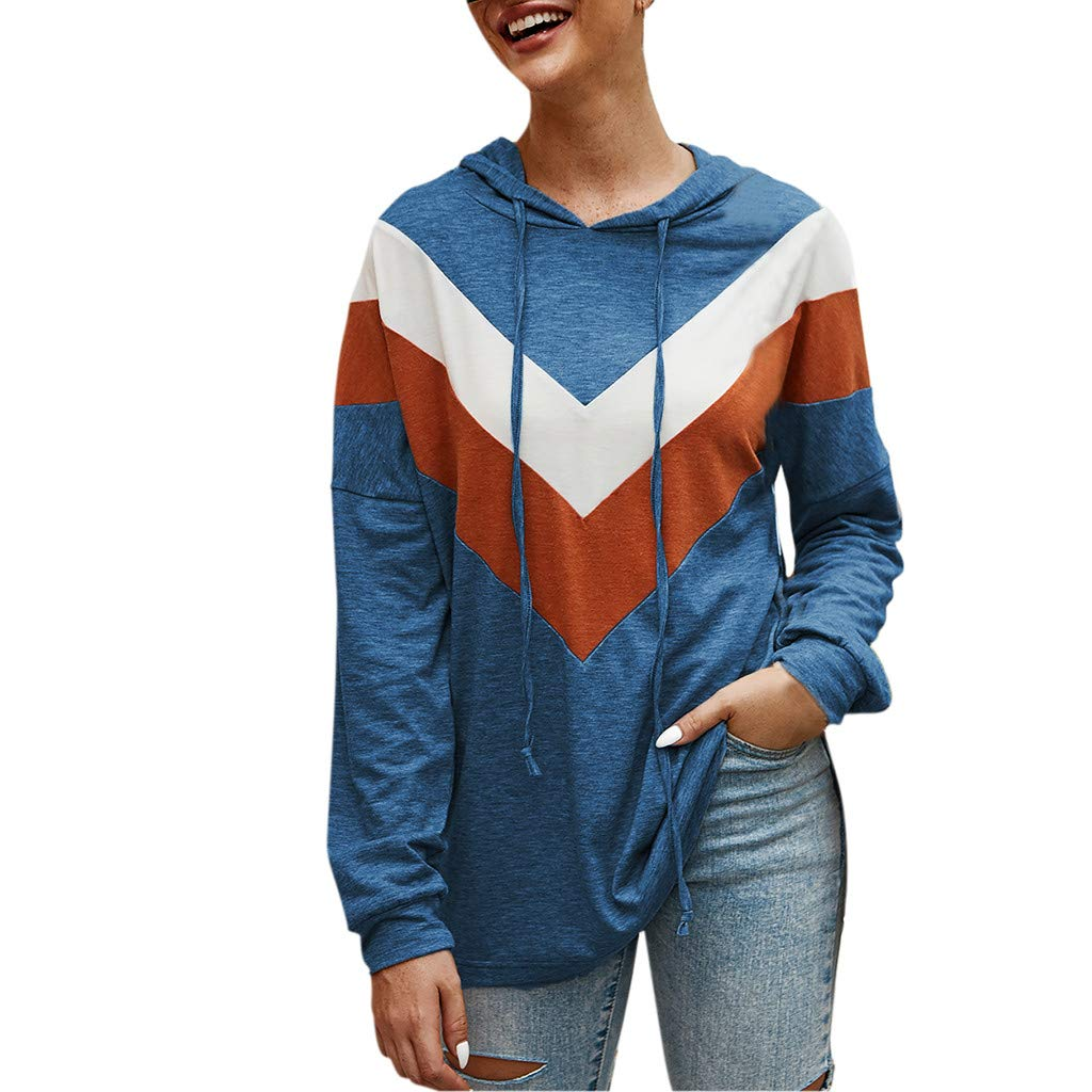 Lataw Women Hooded Pullover Fashion Casual Stripe Patchwork Sweatshirt Cute Long Sleeve Leisure Tops Blouse Clothes by Lataw