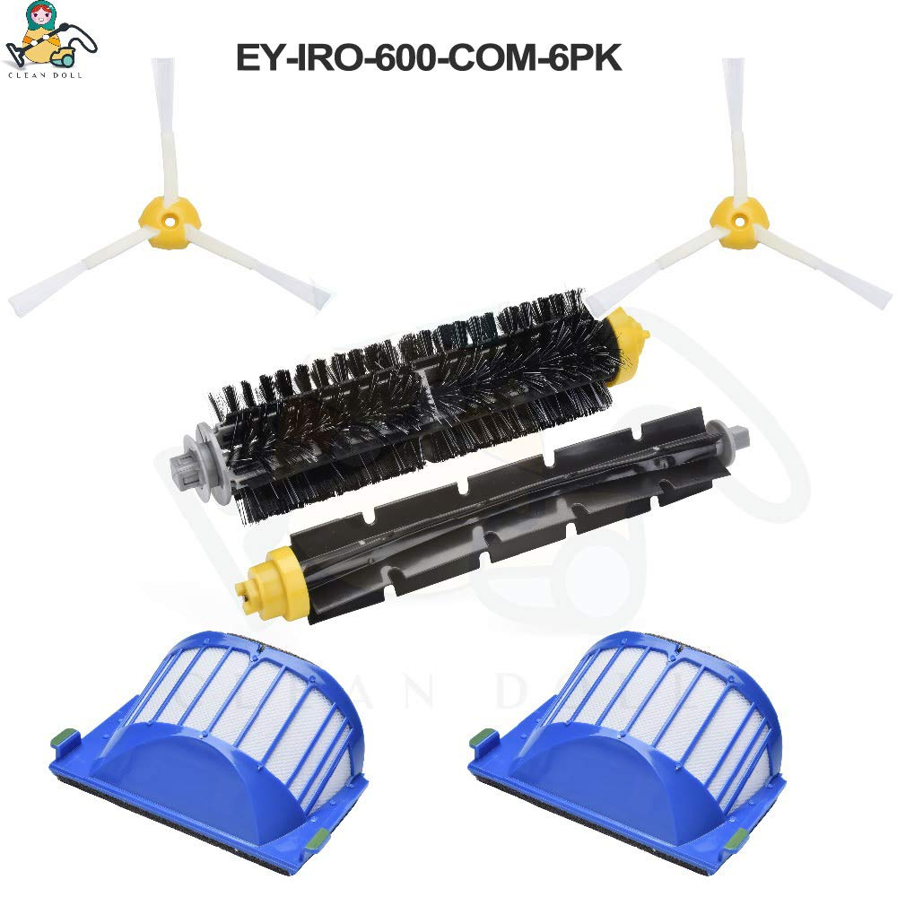 PULLANDSMILES 20-Pack Main Roller Brush Side Brushes Filter for 645 655 677 for ries Spare Parts
