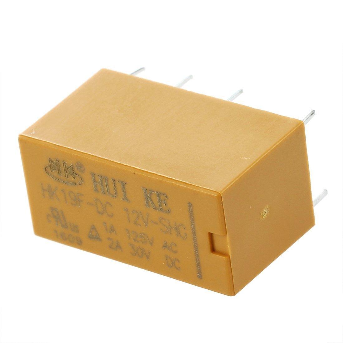 TOOGOO(R) 10pzs DC 12V bobina DPDT 8 pines Rele de potencia de uso general de PCB HK19F 037260
