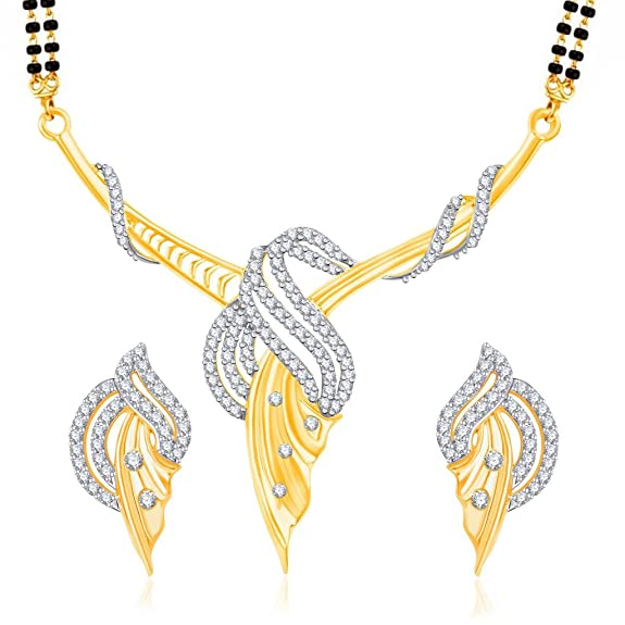 VK Jewels Fabulous Design Gold And Rhodium Plated Alloy Mangalsutra Set with Earrings for Women made with Cubic Zirconia-MP1189G [VKMP1189G] Mangalsutras at amazon
