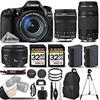 Canon EOS 80D Wi-Fi Full HD 1080P Digital SLR Camera + Canon 18-135mm IS STM Lens + Canon 75-300mm III Lens + Canon 50mm 1.8 II Lens. All Original Accessories Included - International Version