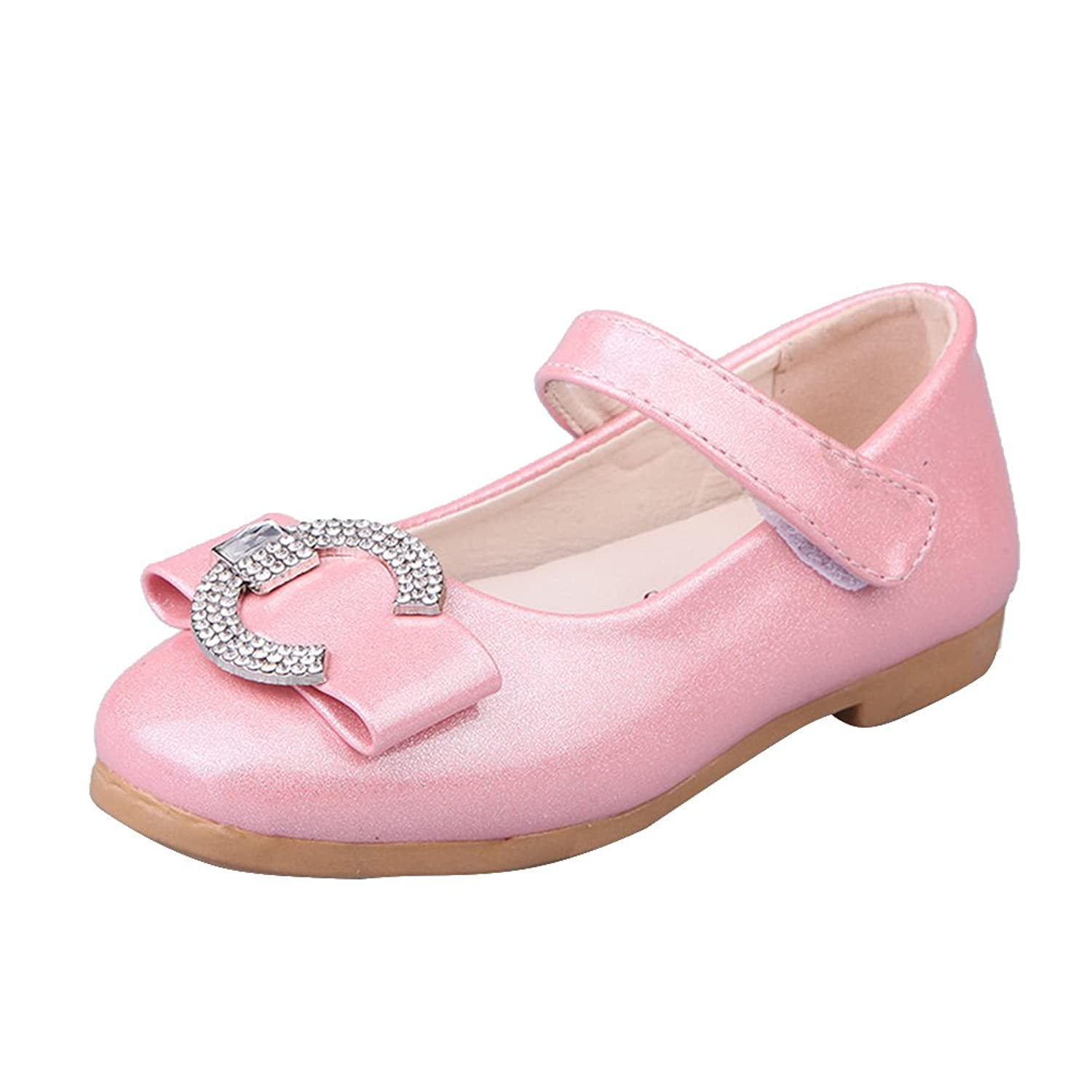 Amur Leopard Kids Girls Mary Jane Shoes Bowknot Metallic Color Dance Wedding Princess Shoes(Toddler/Little Kid) Pink 10.5M US Little Kid