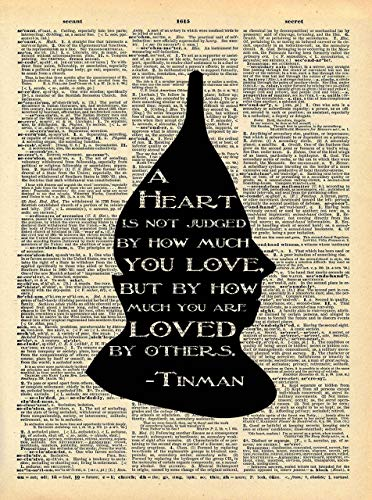 Wizard of Oz Tinman Art - Heart Loved By Others Quote - Vintage Dictionary Print 8x10 inch Home Vintage Art Abstract Prints Wall Art for Home Decor Wall Decor Living ()