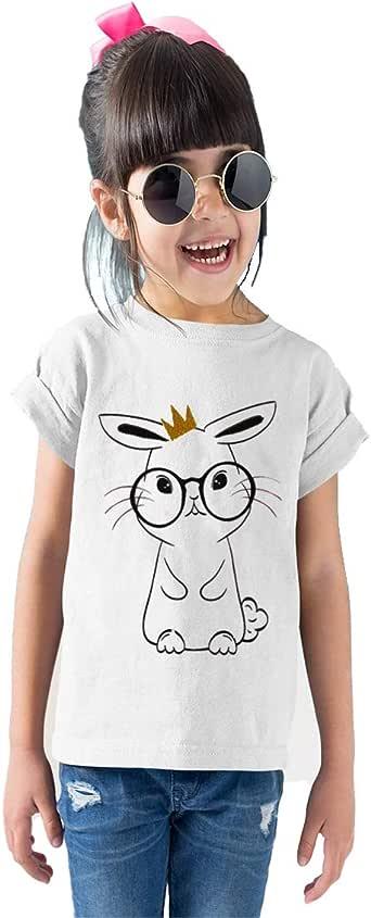 Printed Cotton T-shirt For Girls, White, 28 EU