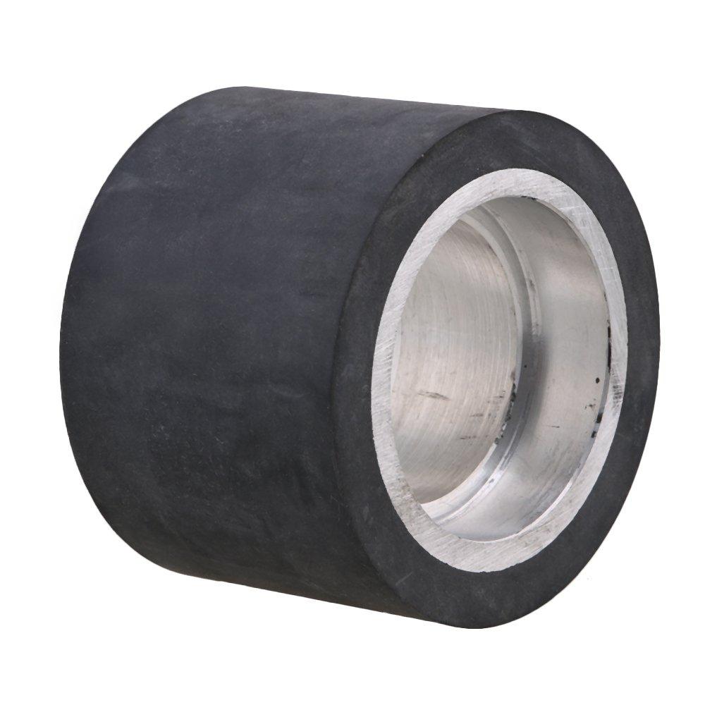 Mxfans Black Aluminum Bearings Belt Grinder Rubber Wheel Flat Surface 70 x 50mm