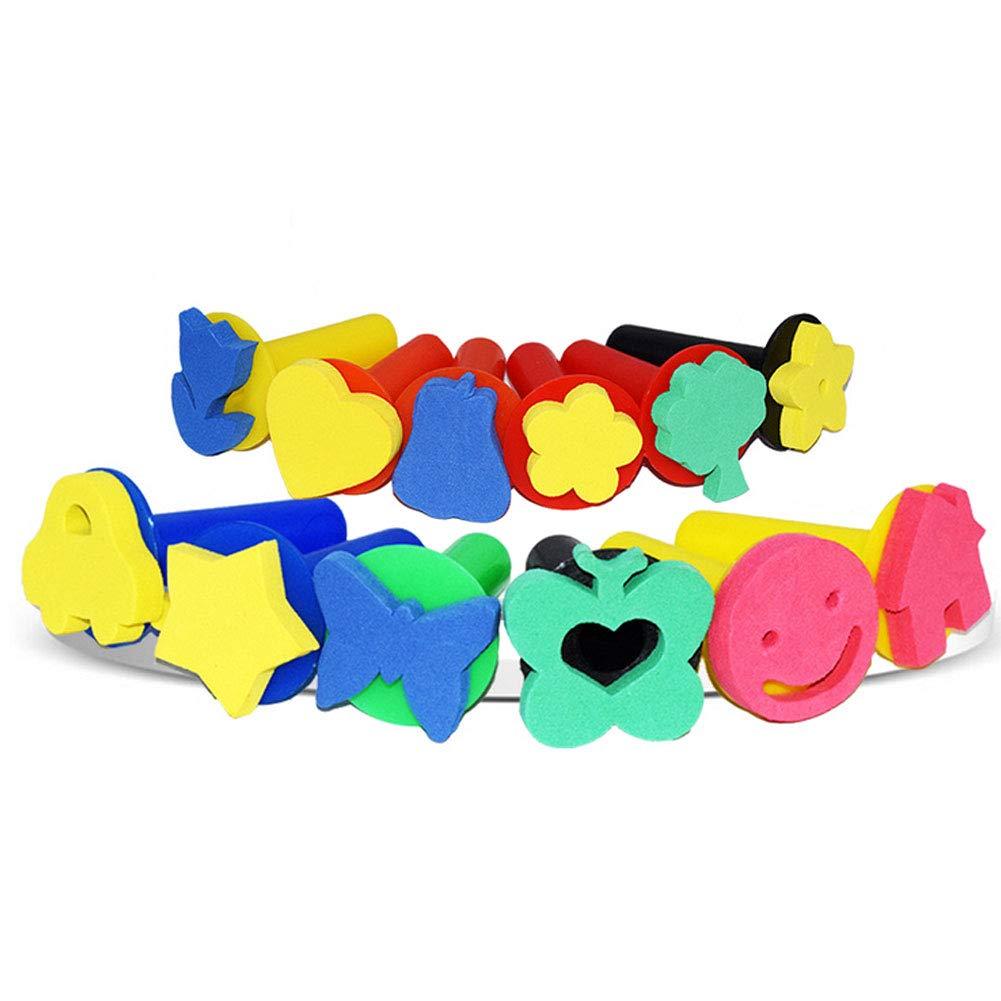 I Bambini di Pittura Stamper con Manico 6 Tipi di Forme Spugna Pittura Stamper Schiuma Eva Mini Assortiti Sponge Brushes A Caso