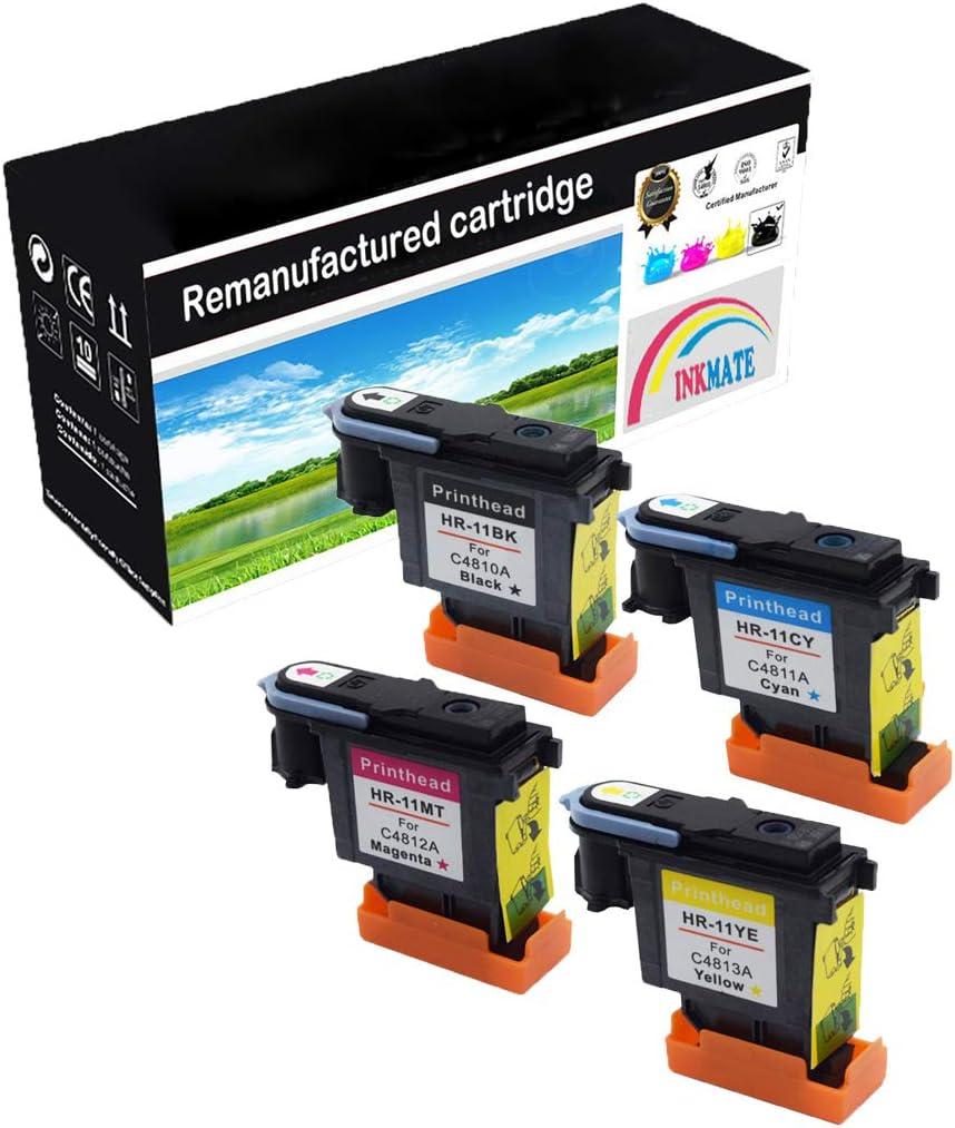 INKMAKE 11 Cabezales de impresión remanufacturados para HP 11 Cabezales de impresión para HP Designjet 70 90 100 110 500 510 500ps 800ps 9110 K850 (Negro/Magenta/Cian/Amarillo): Amazon.es: Oficina y papelería