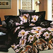 Docooler 4pcs 3D Printed Bedding Comforter Set Bedclothes Tiger and Lily Flower Queen Size Duvet Cover + Bed Sheet + 2 Pillowcases