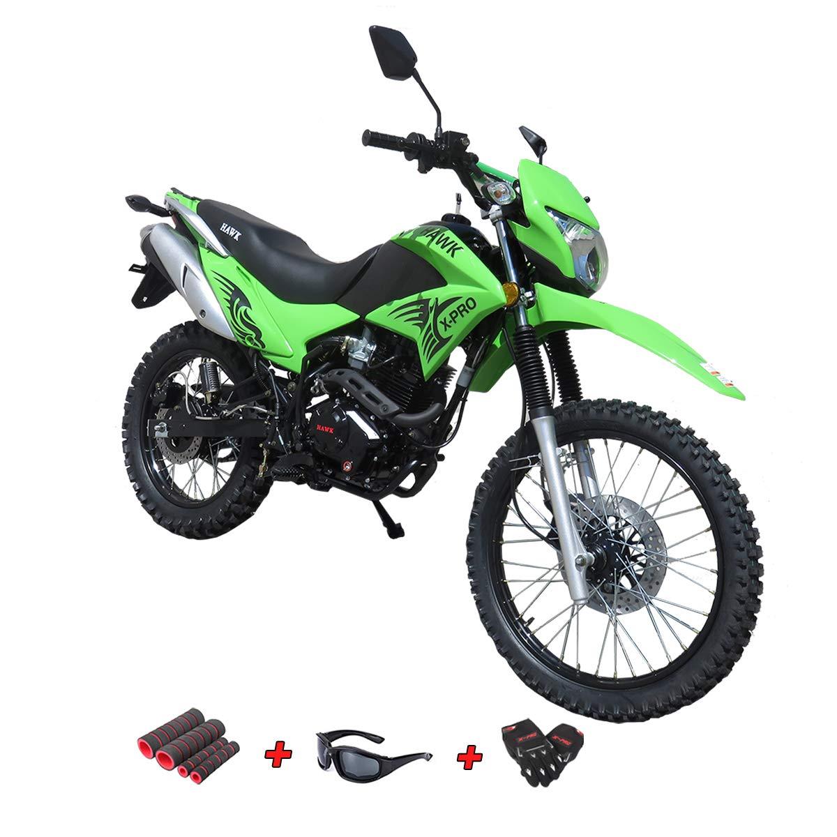 250cc Dirt Bike Hawk 250 Enduro Street Bike Motorcycle Bike with Gloves, Sunglasses and Handgrip (Black)
