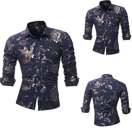 Hombre blusa manga larga Otoño,Sonnena ❤ La camisa impresa de los hombres de la personalidad Camisa estampada de manga larga delgada casual Blusa ...
