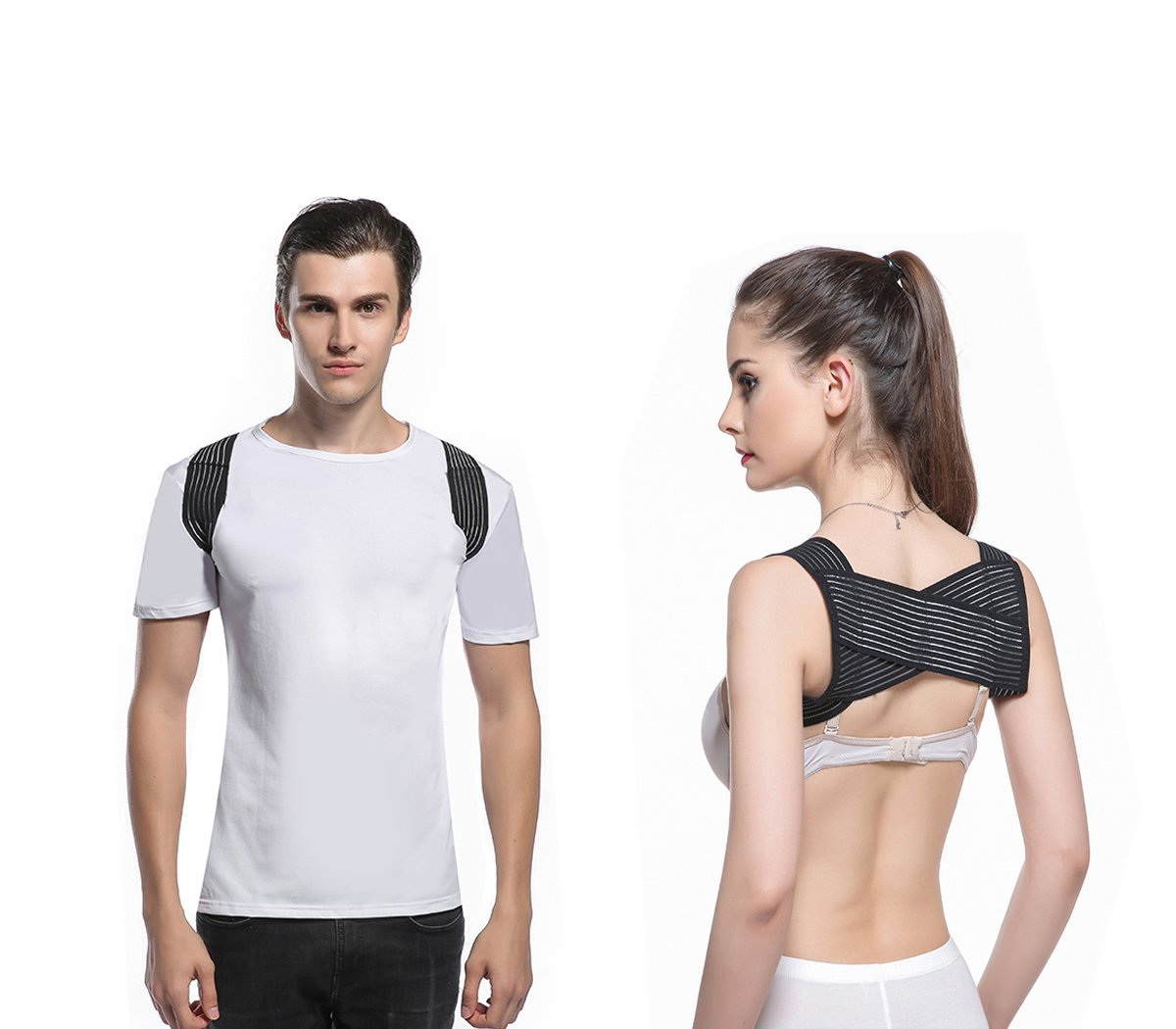 Back Posture Corrector for Men and Women-Comfortable Upper Back Brace Clavicle Support Device - Front Adjustable Straps & Breathable Posture Under Clothes Support -Injury Rehab (Medium)