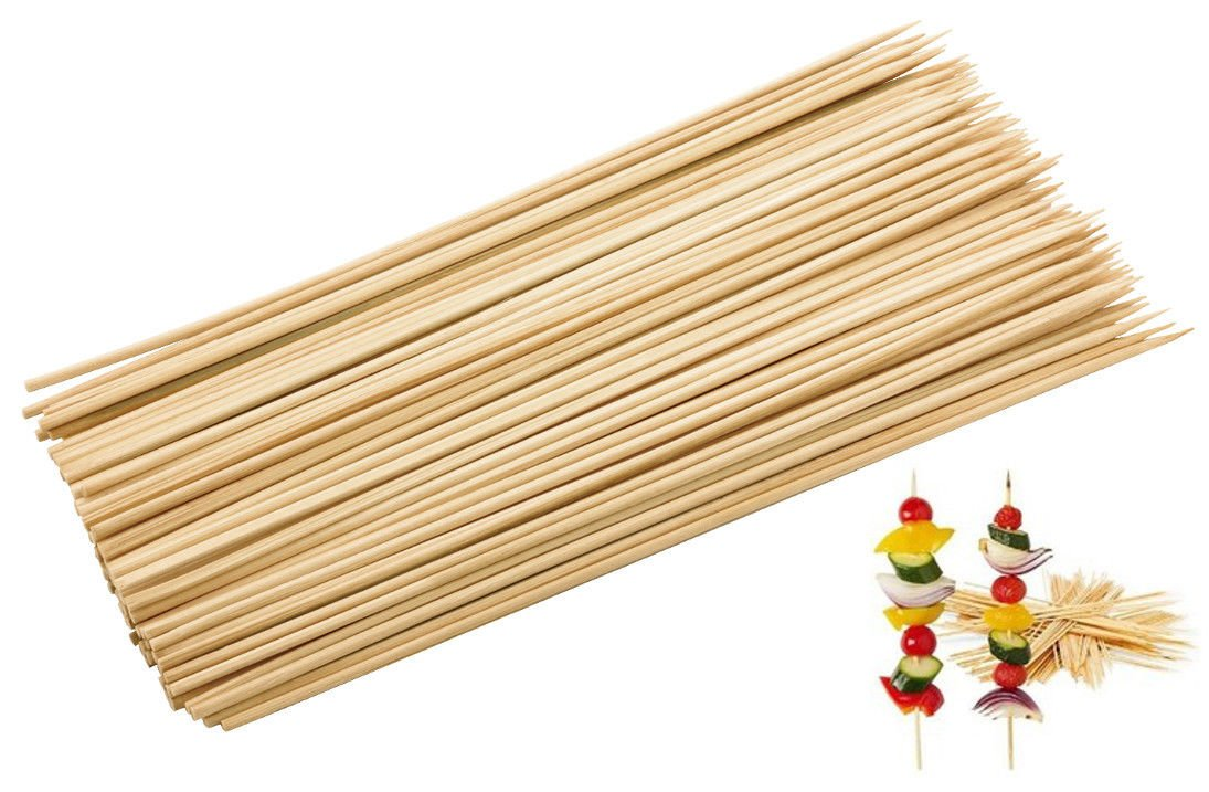 100 Bamboo Skewers BBQ Kebab Fruit Chocolate Fountain Wooden Sticks 25cm